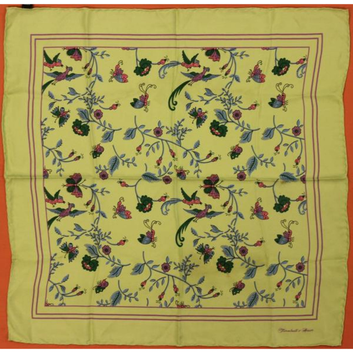 "'Turnbull & Asser Pistachio Birds/ Butterflies of Paradise Silk Pocket 18""Sq'"