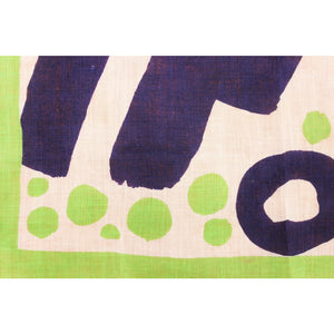 Givenchy Abstract Lime & Navy Print Linen Pocket Square