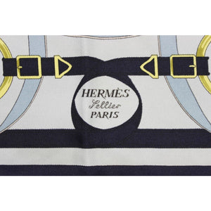 "Hermes of Paris Navy 'Eperon d'Or' Silk 16"" Square Pochette"