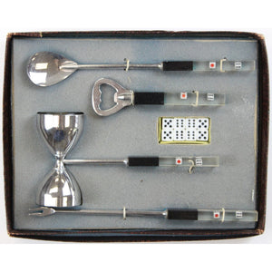 Boxed Set of 4 Chrome & Dice Lucite Barware Utensils