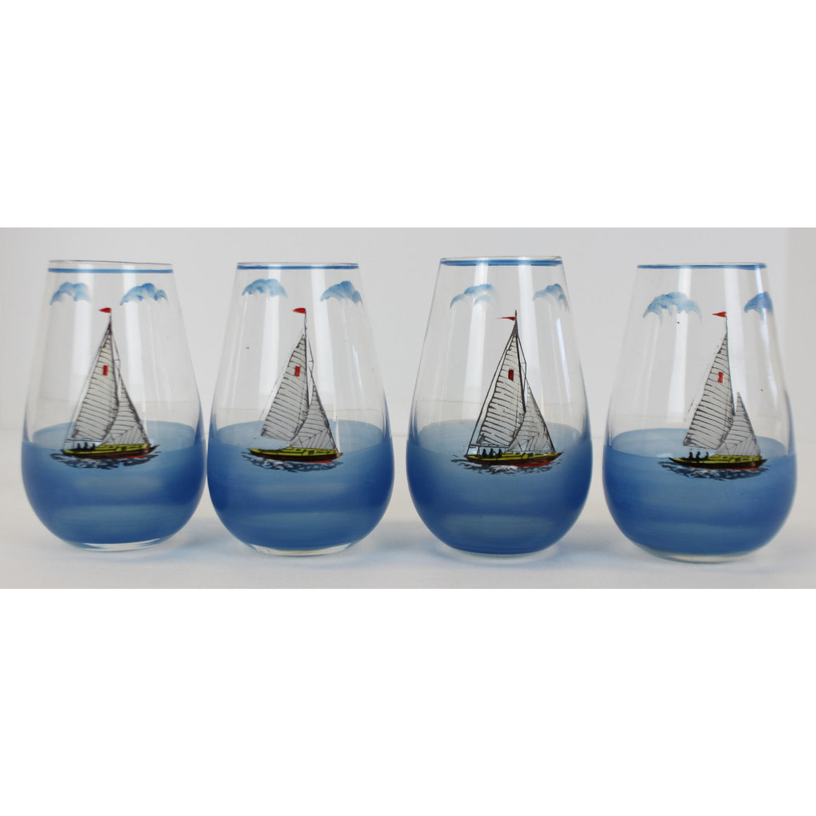 Set of 4 Hand-Painted Sailboat Glasses