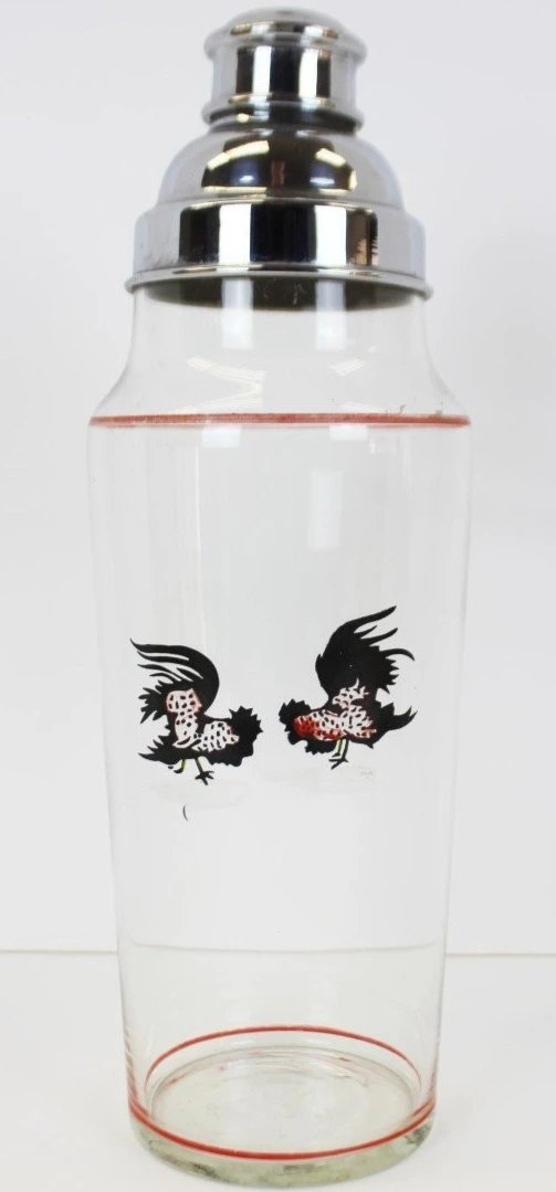 Hand-painted Fighting Cocks/Rooster Glass Cocktail Shaker w/ Chrome Lid