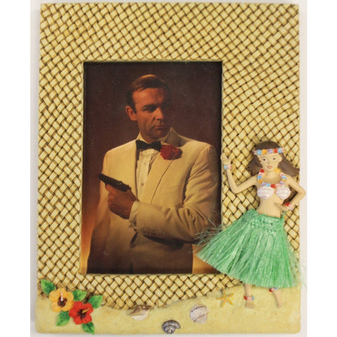 """Hula Girl Photo Frame w/ Sean Connery as JB 007 Postcard"""