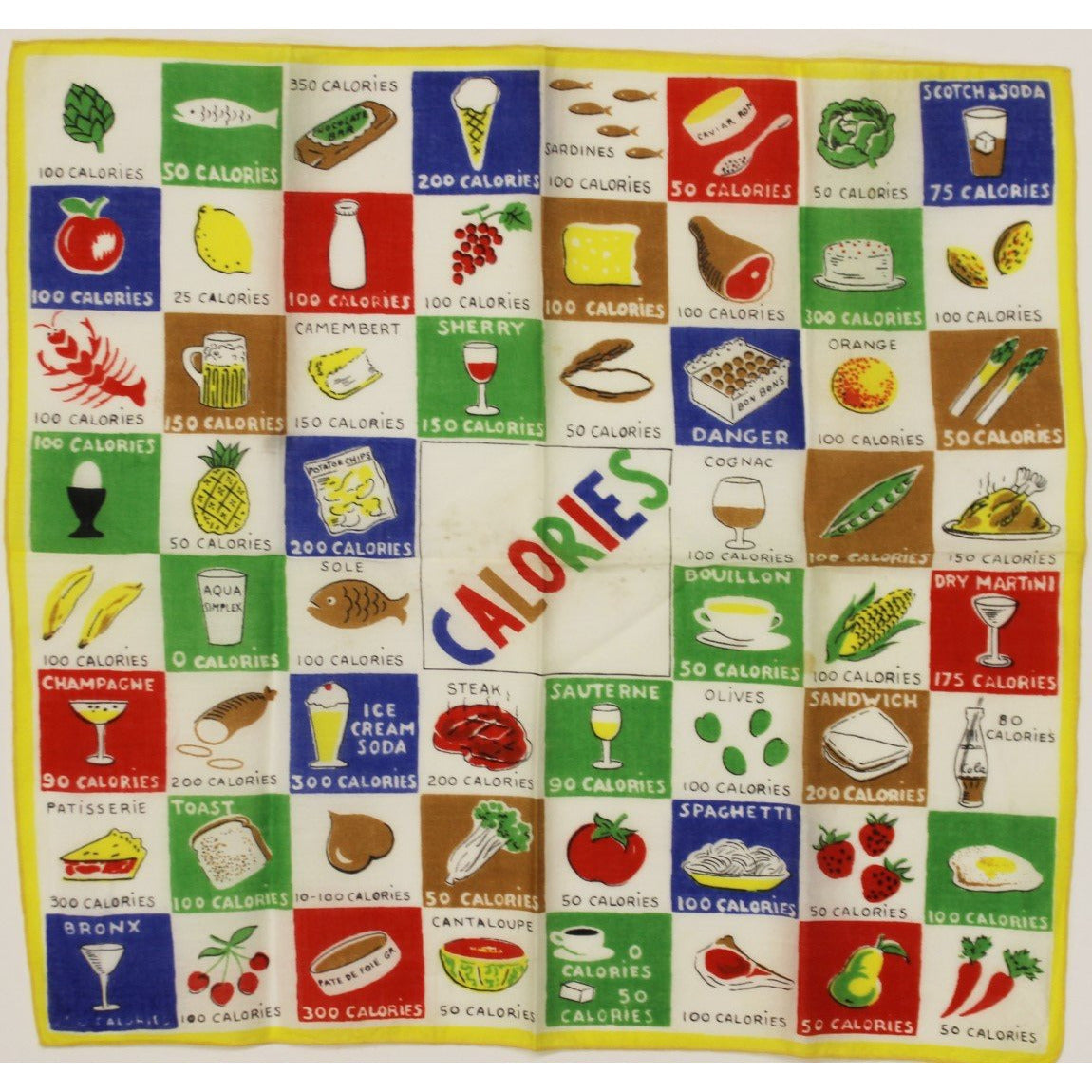"Calories 60 Food Types Cotton 13 Sq"" Scarf"