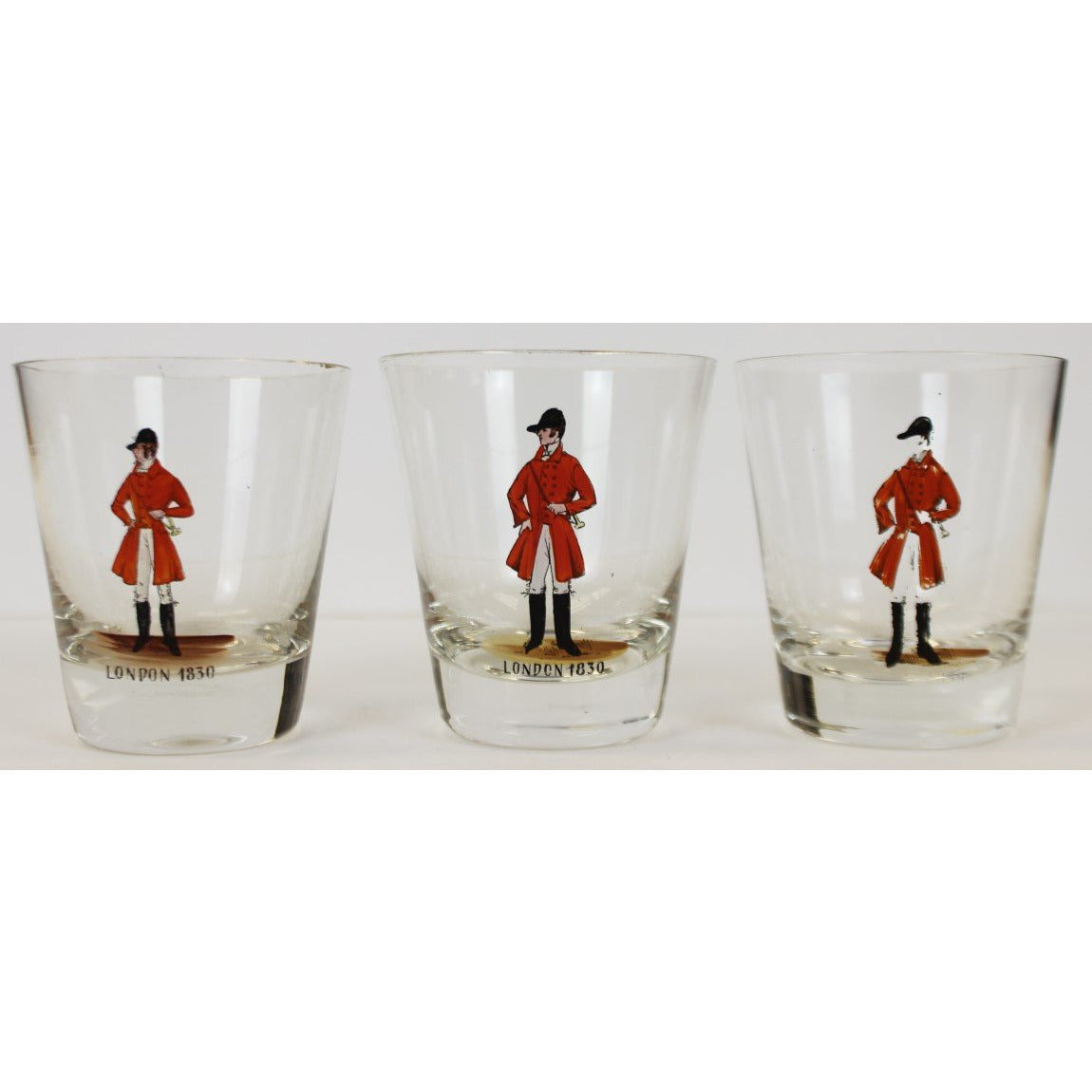 Set of 3 Hand Painted MFH Old-Fashioned Bar Glasses