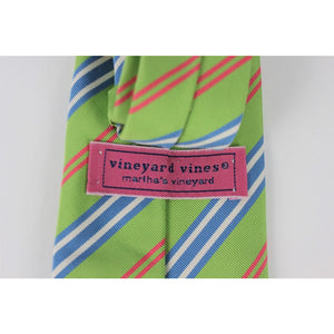 Vineyard Vines Lime/Blue/Coral Stripe Tie