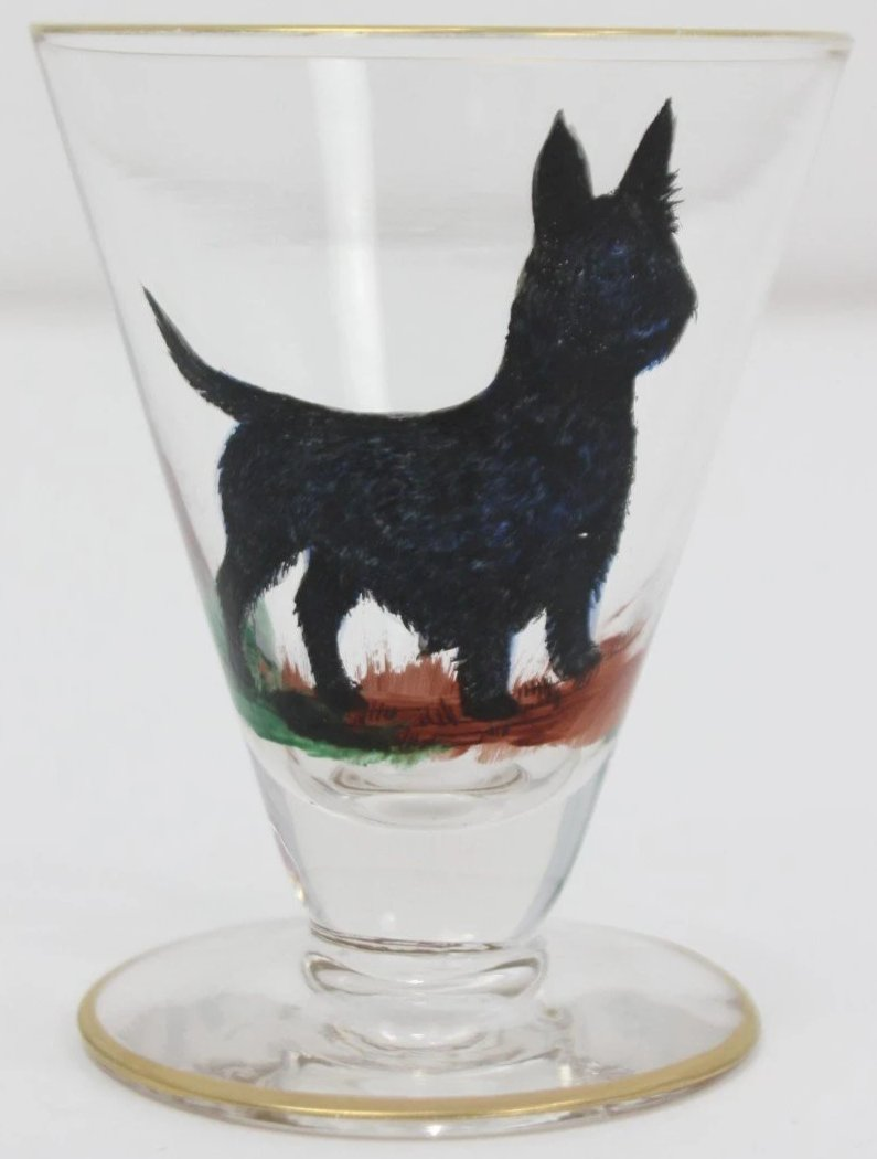 Set of 4 Sporting Dog Cordial Glasses