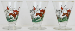Set of 3 Fox Hunt Sherry Glasses