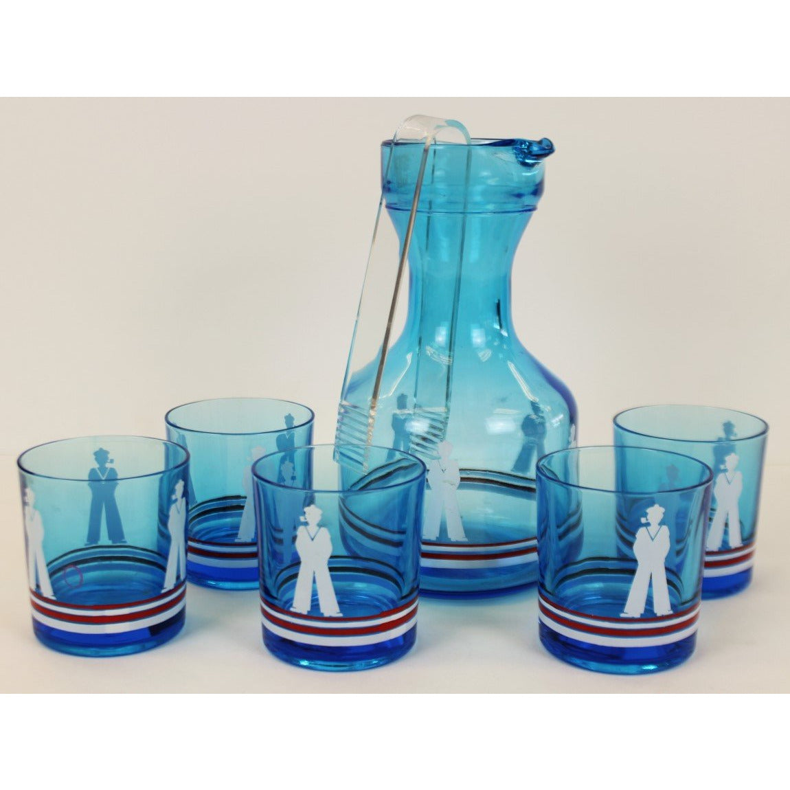 5 Sailor Old-Fashion Glasses w/ Decanter