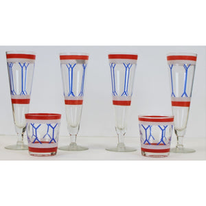 Pair of Old-Fashioned & 4 Pilsner Red/ White & Blue Glasses