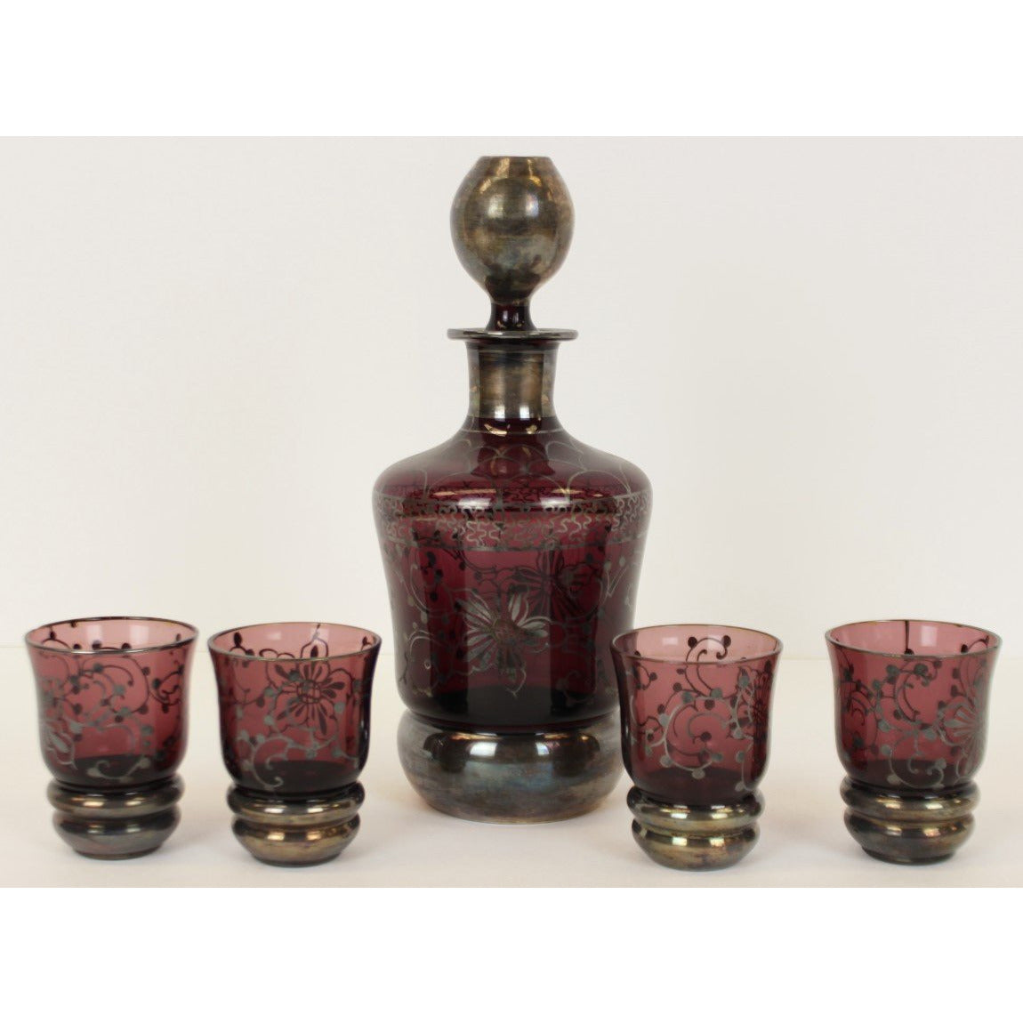 Set of 4 Rose/Silver Shot Glasses & Decanter