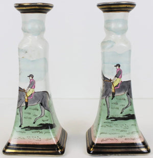 Pair of Jockey China Candlesticks