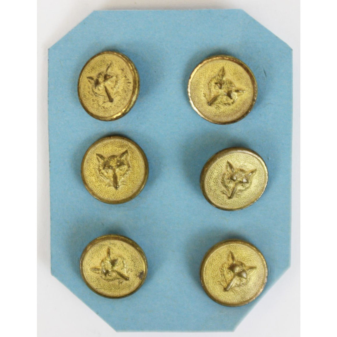 Set of 6 Brass Fox Head Vest Buttons Stamped