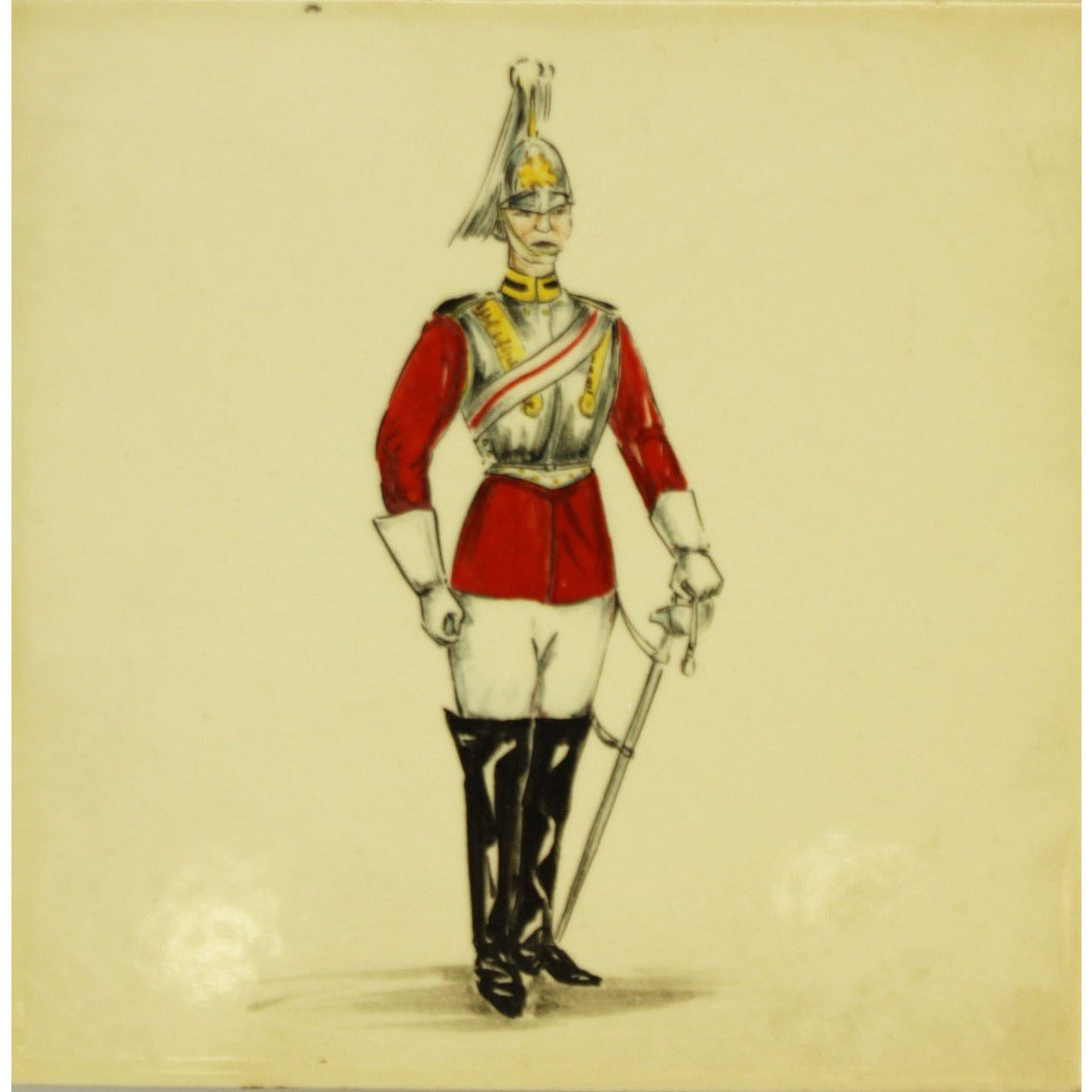 Pilkington English Hand-Painted Royal Officer Tile