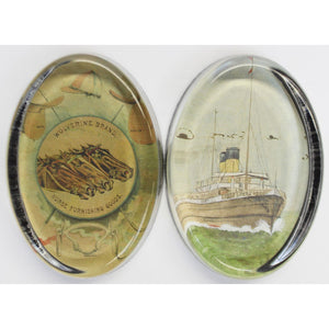Pair of John Derian Decoupage Glass Oval Paperweights