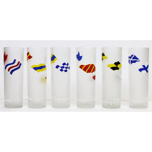 Set of 6 Frosted Signal Flags Collins Glasses