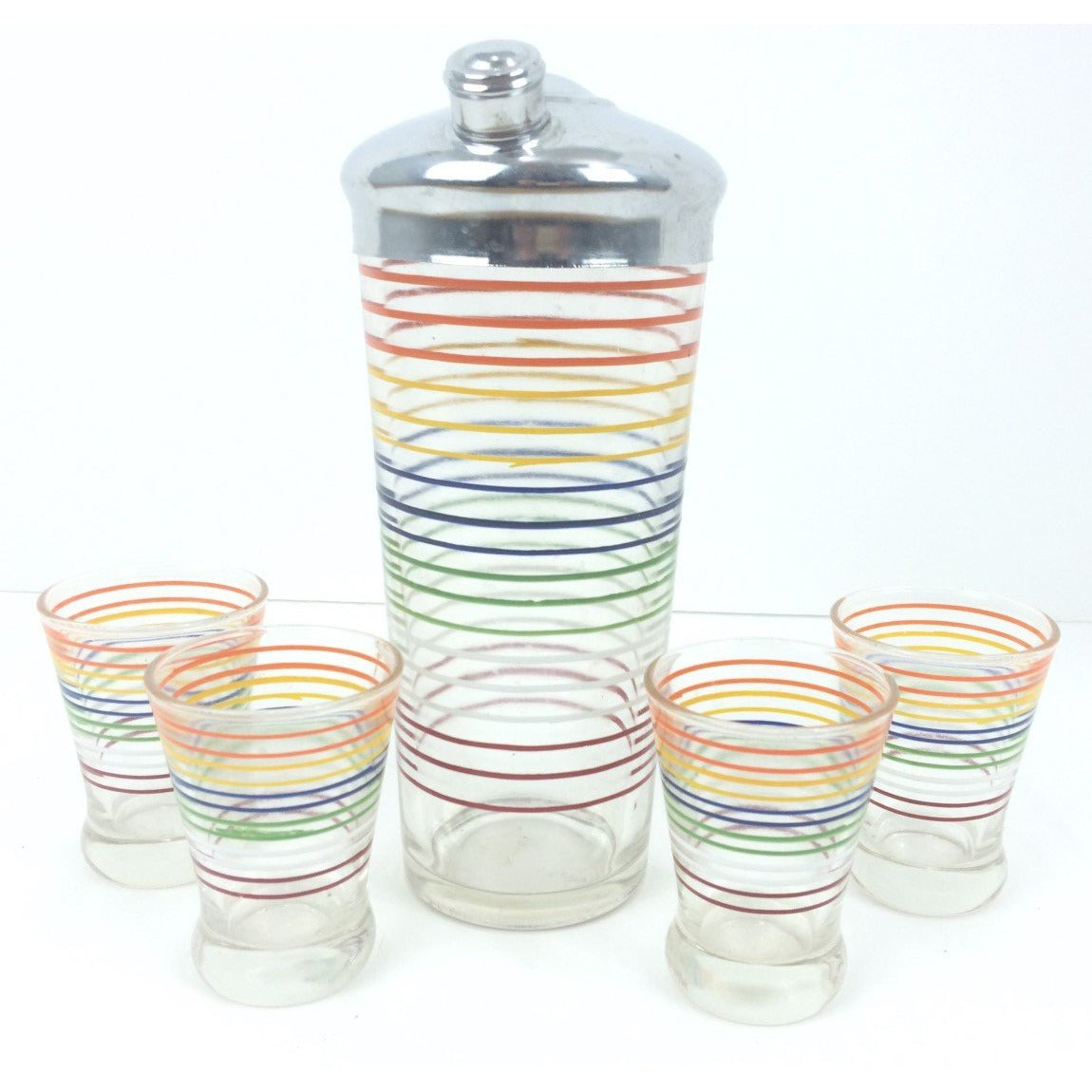 Set of 4 Multi-Stripe Shot Glasses w/ Glass Cocktail Shaker (Chrome Lid)