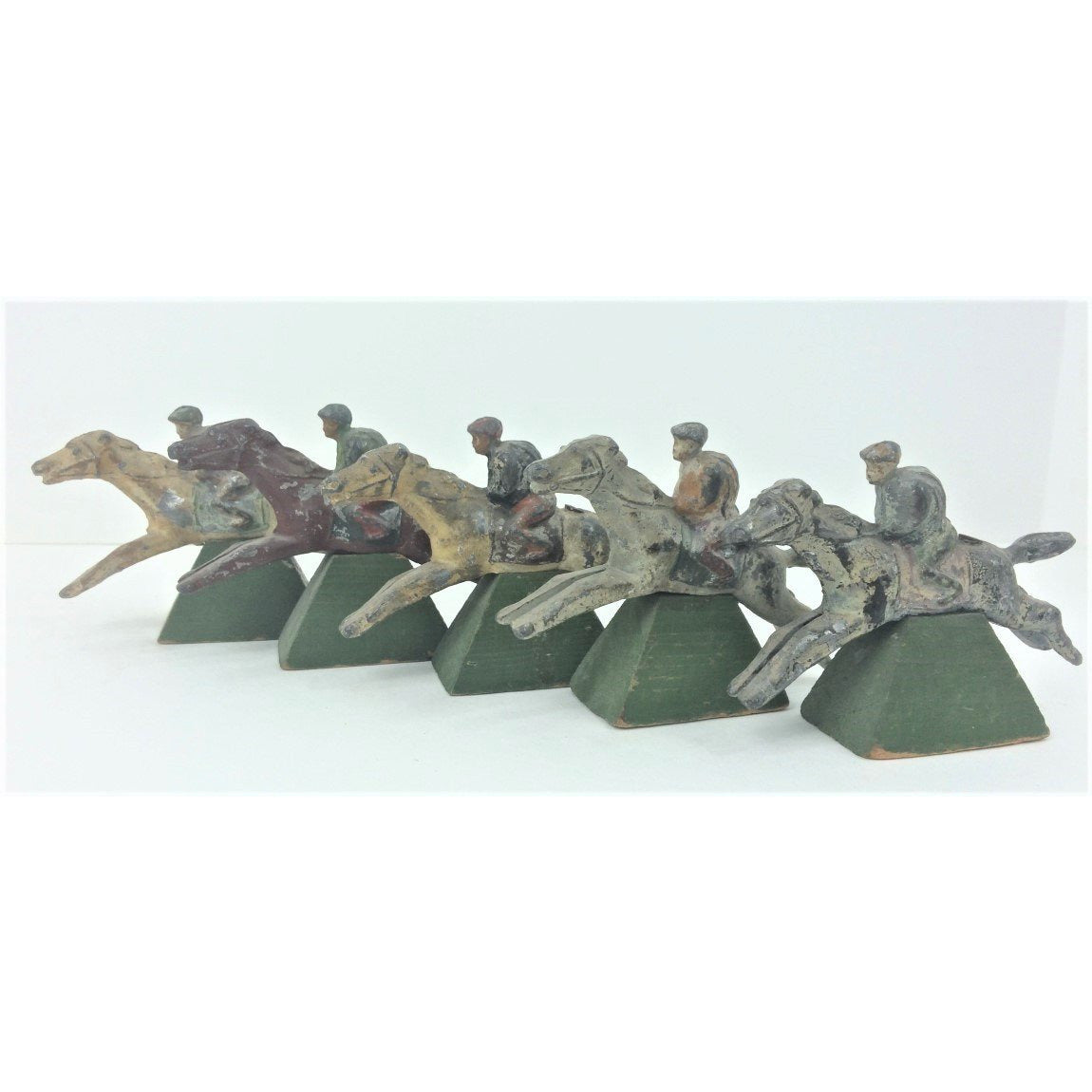 Set of 5 English Lead Board Game Jockeys on Wood Plinths