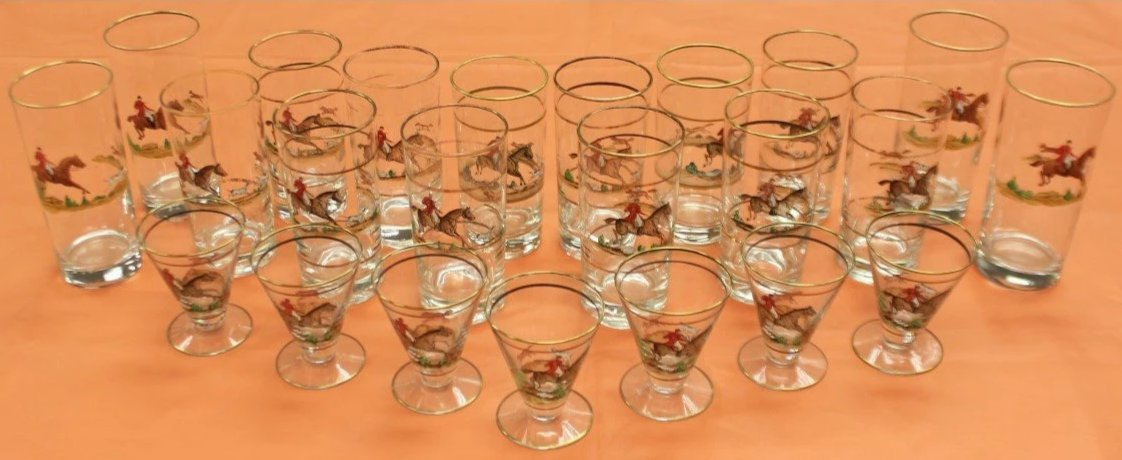 Set of 23 Hand-Painted FoxHunt Glasses