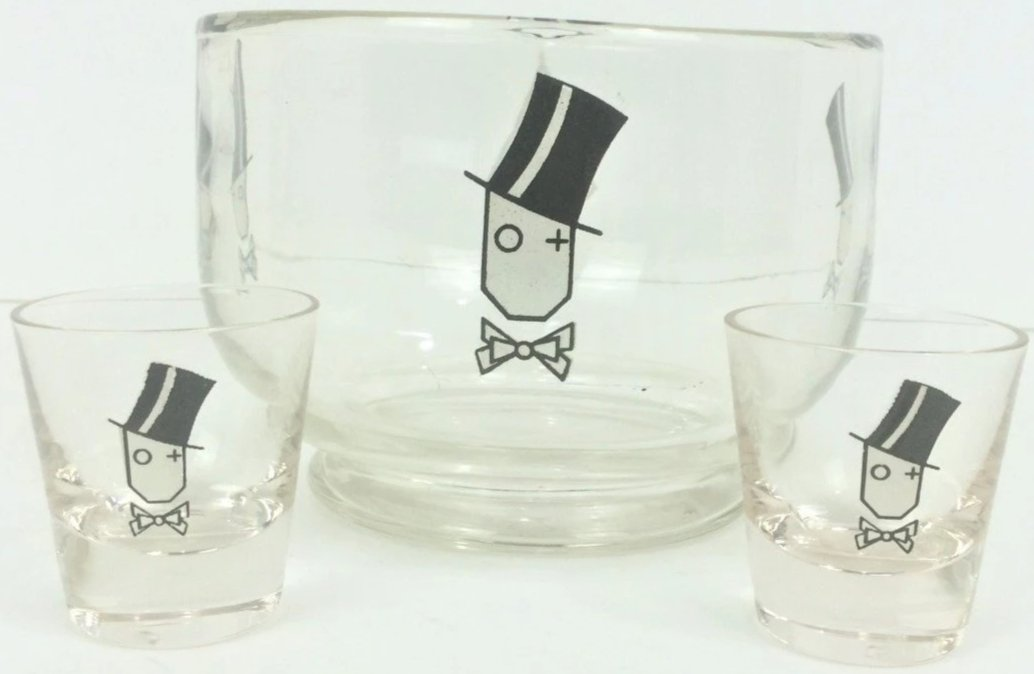 Y Monogram Topper Glass Ice Bowl & Pair of Shot Glasses c1930s