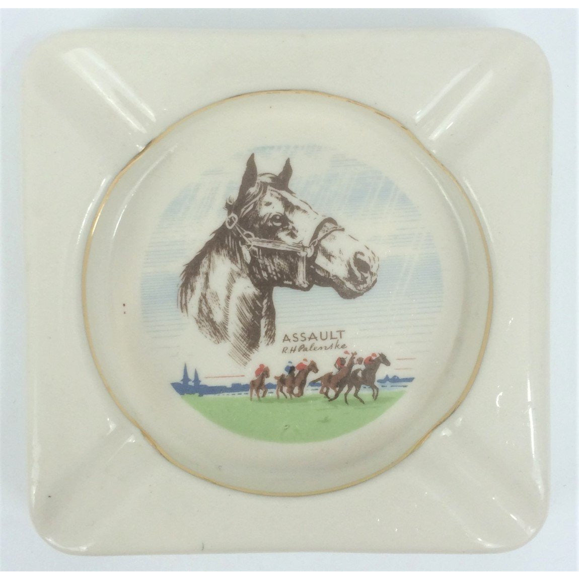 "Assault Racehorse by R. H. Palenske China Ashtray Stamped: ""B&B"""