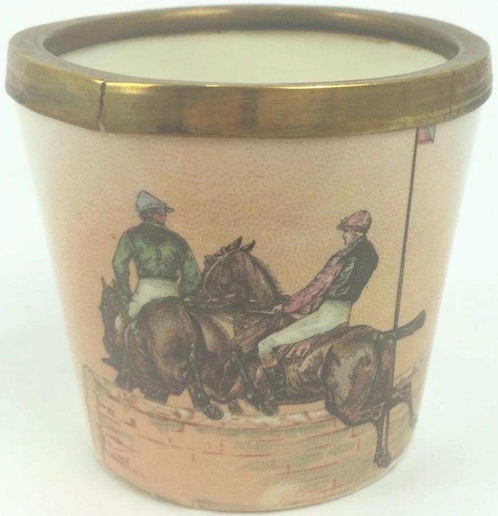 Steepelchase Jockeys Porcelain Cup w/ Brass Rim
