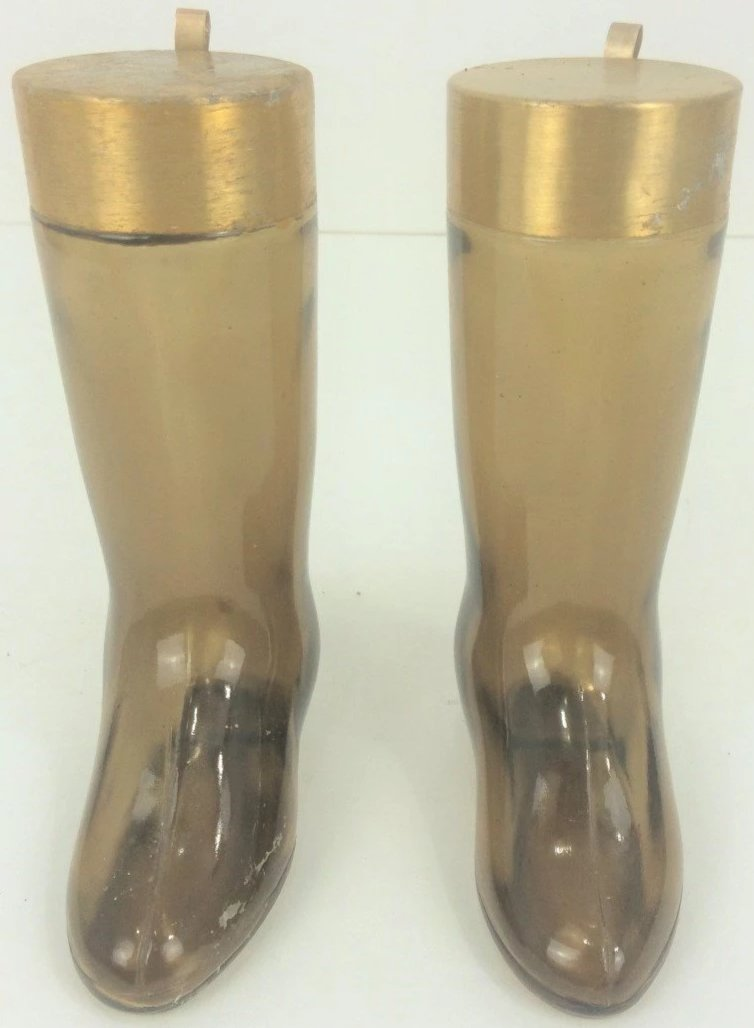 Pair of Amber Glass 'Decanter' Riding Boots w/ Copper Lids