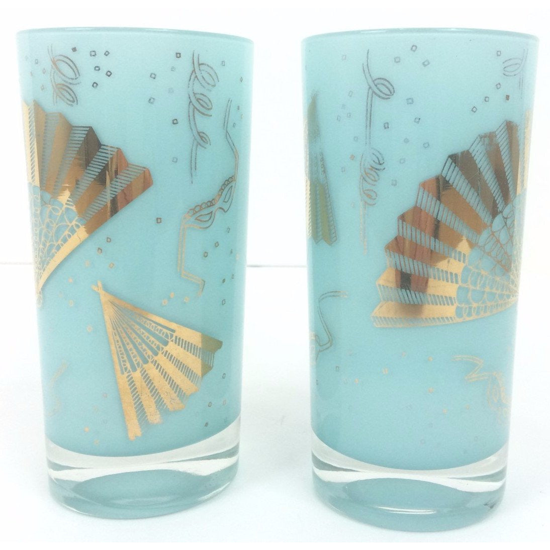 Pair of Blue 'Masquerade' Highball Glasses