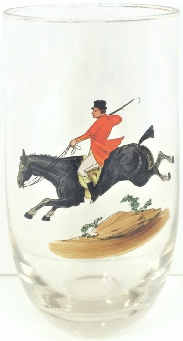 Hand-painted Huntsman Roly Poly Glass