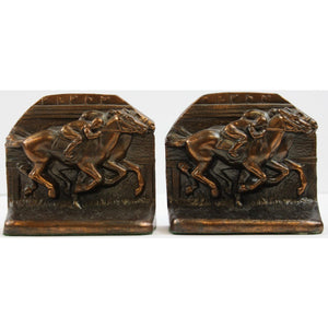Pair of Jockey Bronze Bookends