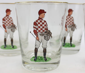 Set of 11 Red & White Checkerboard Silks Hand-Painted Jockey Old-Fashion Glasses