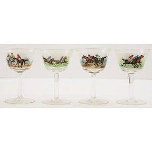 Set of 4 Hand-Painted Jockeys Cordial Glasses