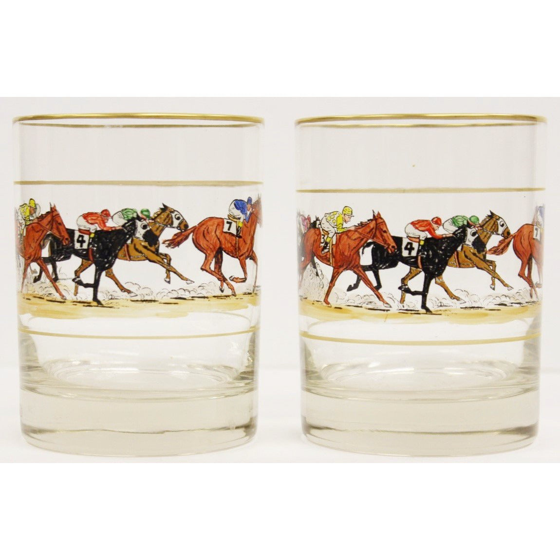 Pair of 6 Hand-Painted Jockeys Old-Fashioned Glasses