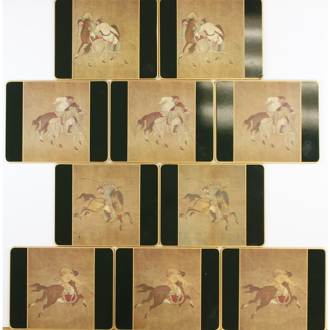 Set of 10 Chinese Polo English Plate Coasters
