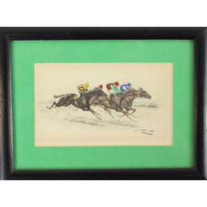 4 Racehorses Hand-Coloured Plate by George Wright