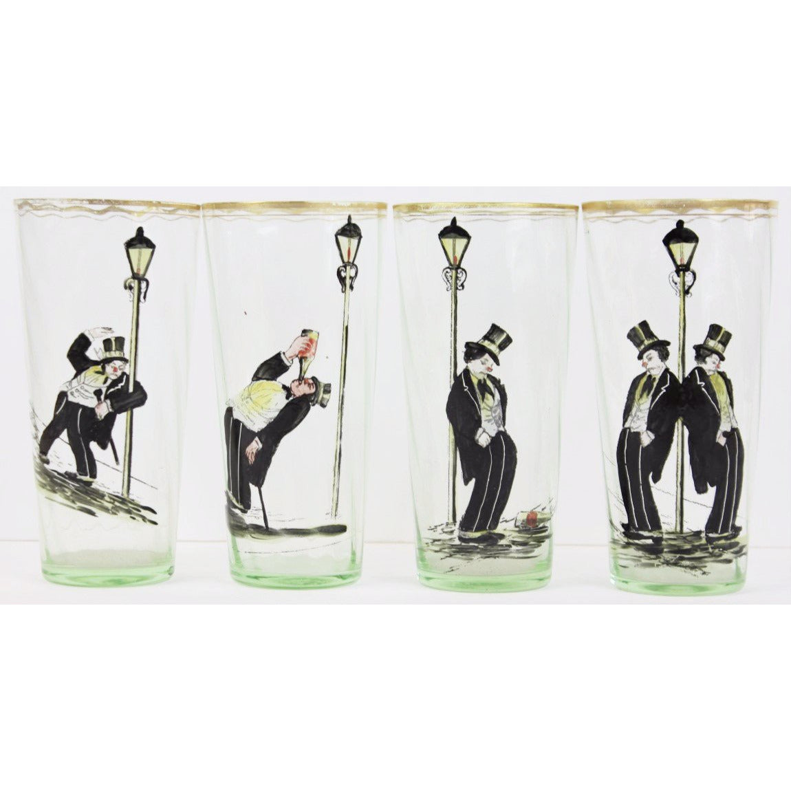 Set of 4 Hand-Painted Highball Topper Glasses