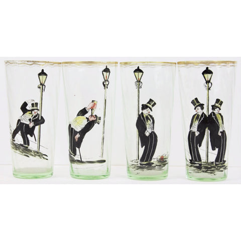 Set of (4) Hand-Painted Highball 'Topper' Glasses