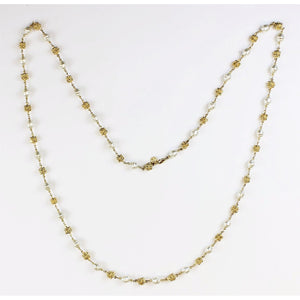 Strand of 32 Pearl & Gold Necklace