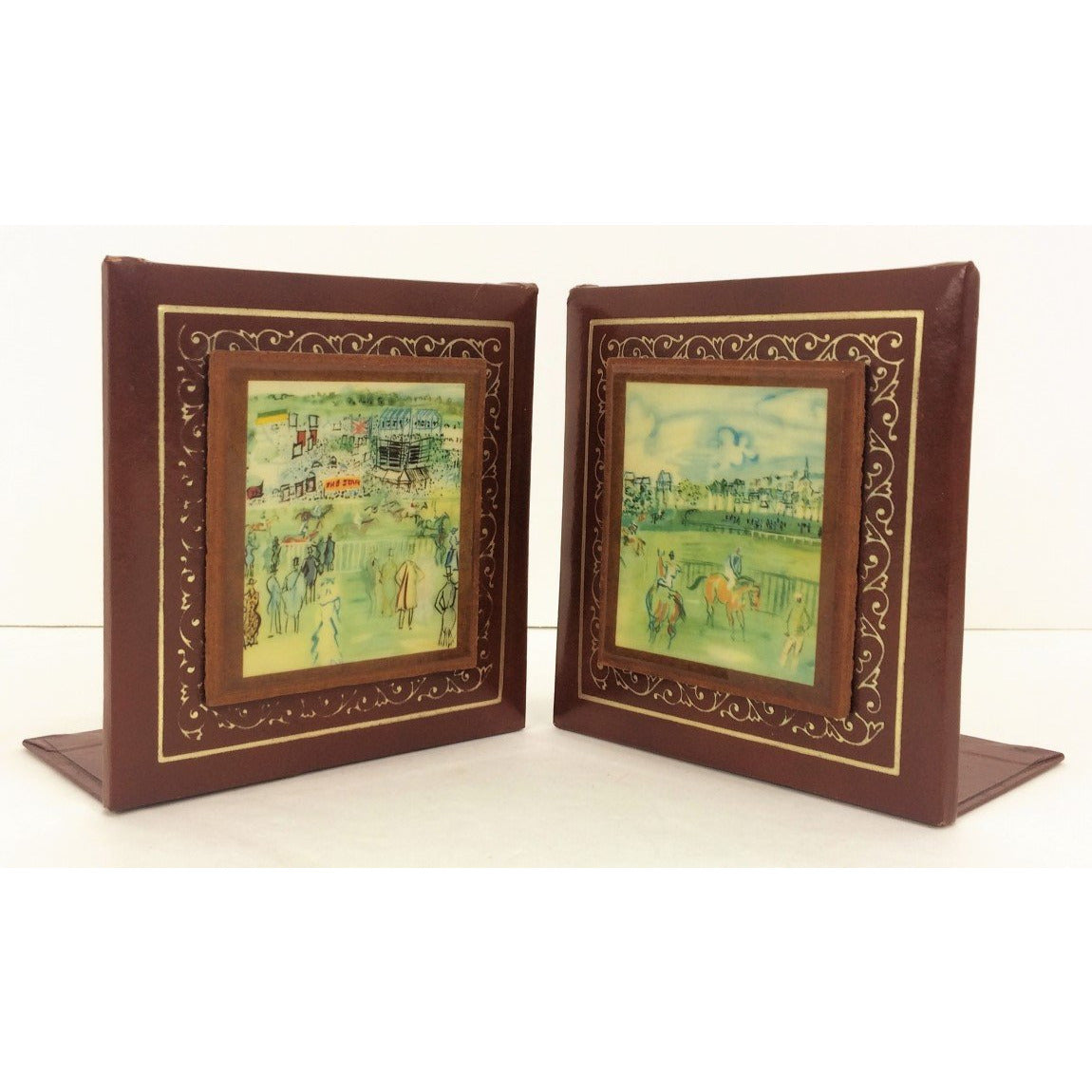 Pair of Dufy Racecourse Leather Bookends