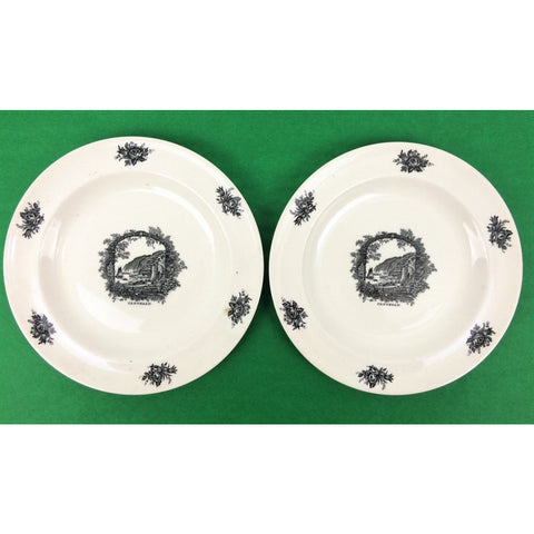 """Pair of Rex Whistler Design 'Clovelly' Wedgwood Butter Plates"""