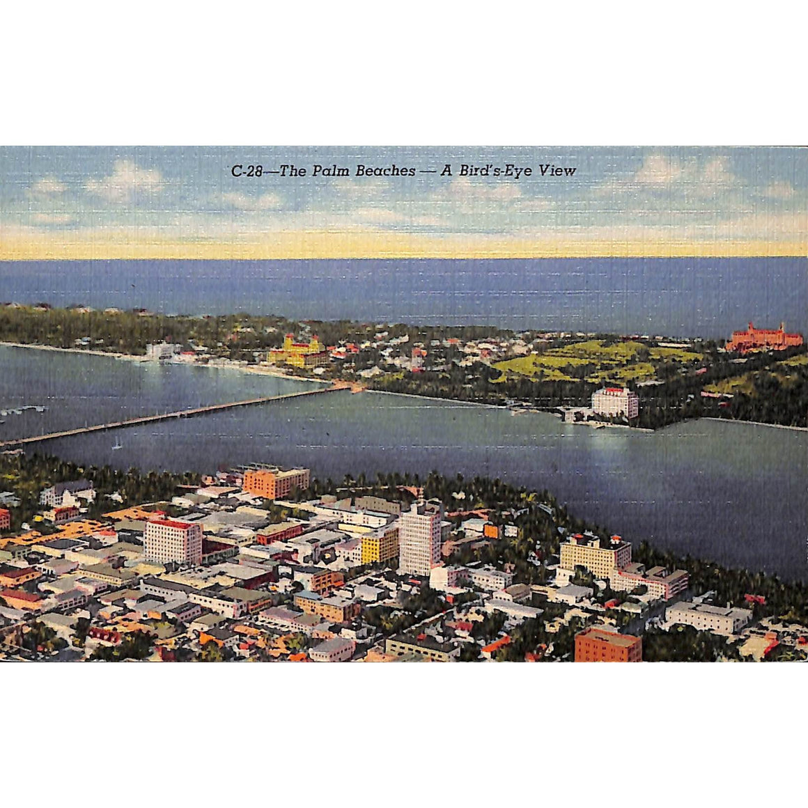 "The Palm Beaches- A Bird's-Eye View"" Post Card"