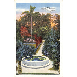 'Lily Pool, Poinciana Gardens, Palm Beach Post Card'