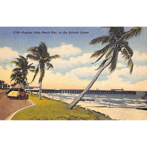 Popular Palm Beach Pier, on the Atlantic Ocean Post Card