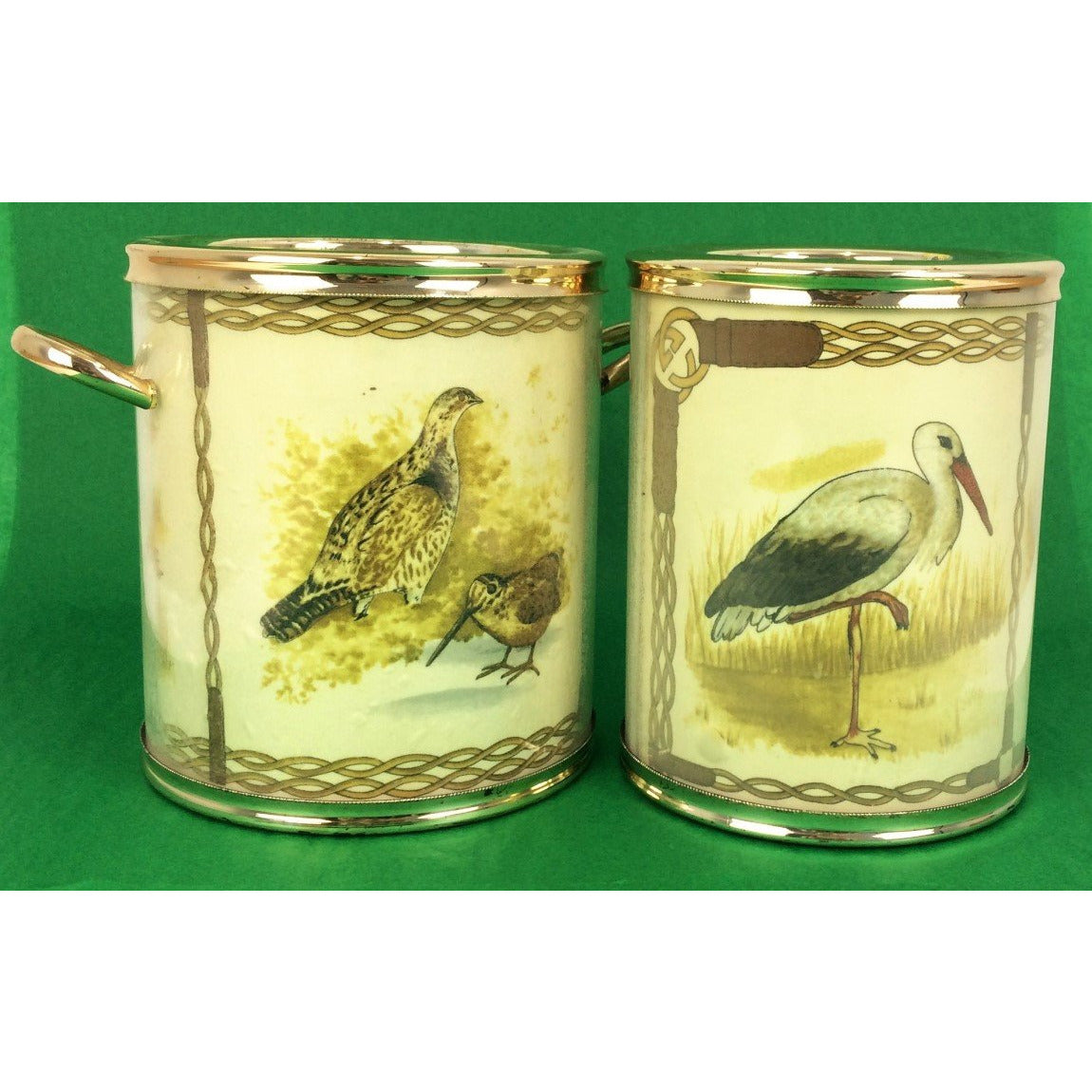 Set of Gucci Silk Game Birds Wine Cooler & Ice Bucket