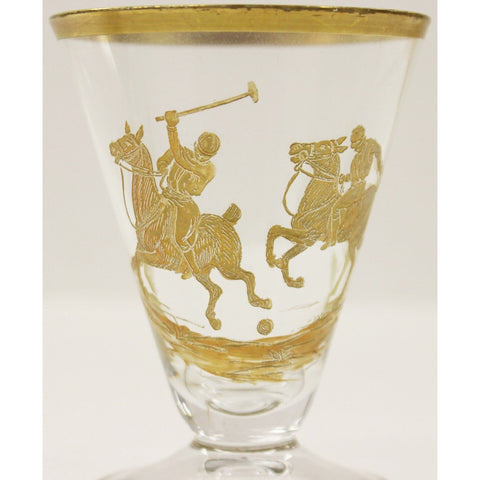 Set of (4) Gold Polo Player Sherry Glasses