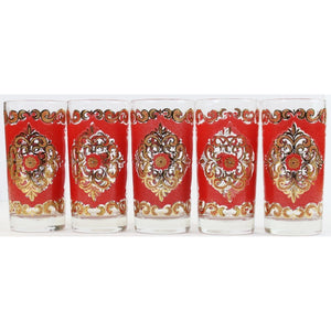 Set of 5 Chinoiserie Highball Glasses