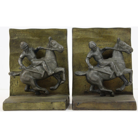 Pair of Bronze Polo Player Bookends