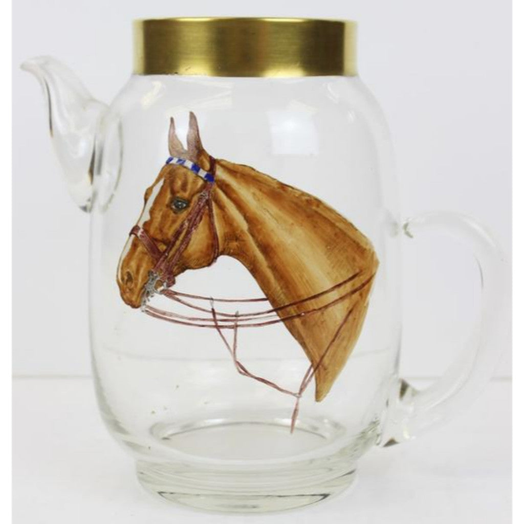'Hand-painted by Cyril Gorainoff Horse Head Glass Pitcher'