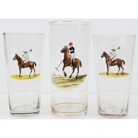 Set of (3) Polo Player Highball Glasses
