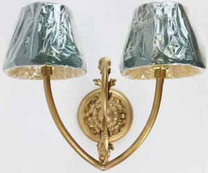 Ornate Gilt Wall 2 Socket Sconce w/ 2 Green Shades